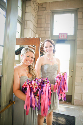 We made these streamers for our guests to wave during our exit!  Another fun DIY! The Favors - Elizabeth and Steven's Wedding in St Louis, MO, USA