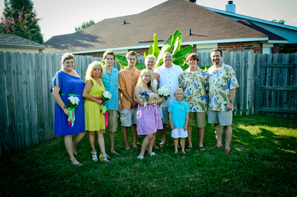 "Tropical beach wear was for us! It fit our theme. Wedding Party Attire - Angela  and James ""Chuck""'s Wedding in Bossier City, LA, USA"