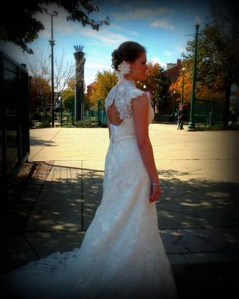 From Adore Bridal Shop in Morton. Dress is Allure Bridals dress style number -C155 The Wedding Dress - Robin and Jason's Wedding in Peoria, IL, USA