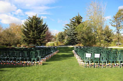 The beautiful and simply ceremony setting at the Dorothy Harvie Gardens. The Ceremony - Holly and David's Wedding in Calgary, AB, Canada