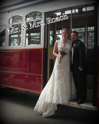 Trolley from Elegant Limo in Peoria/Bloomington.  Only place around that has a trolley The Ceremony - Robin and Jason's Wedding in Peoria, IL, USA