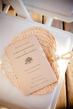 I made the ceremony programs myself with paper from Paper Presentation and customized them by rubber stamping an oak tree emblem on the from of each one. Our save the date featured an oak tree motif and signified the live oaks that are such a dramatic natural element of the plantation. Fans were passed out to guests at the ceremony. They turned out to be a great choice, as the day was warm and the sun was bright. Our guests used them as sun shades for their eyes! The Favors - Kathryn and Andrew's Wedding in Charleston, SC, USA