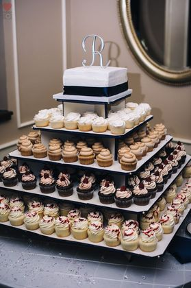 The cake and Cupcakes by Sarah Goldsmith Cakes and Desserts - Kaela and Andrew's Wedding in Perrysburg, OH, USA