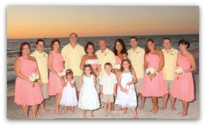 Guys are wearing Tommy Bahama shirts & shorts Wedding Party Attire - Naples Wedding In October in Naples, FL, USA