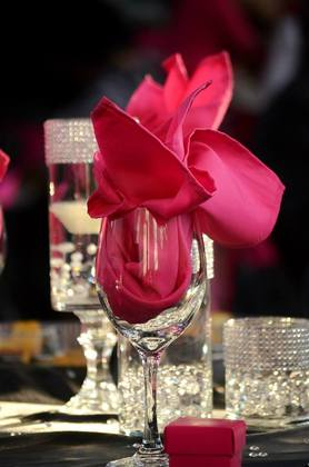 My Decor was fuschia and black with BLING accents everywhere Flowers and Decor - CHARISMA and WILLIE's Wedding in Perry, GA, USA