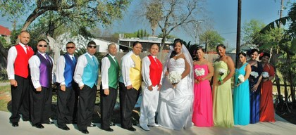 Wedding party...colorful huh?! Wedding Party Attire - latoya and cyndia's Wedding in San Antonio, TX, USA