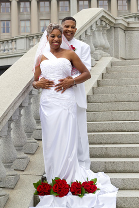 My dress was purchased online but I will not give credit to the company because I received the incorrect color and the seamwork was terrible -- had to have it resewn by a local seamstress in Steelton, PA   The Wedding Dress - Harrisburg Wedding In July in Harrisburg, PA, USA