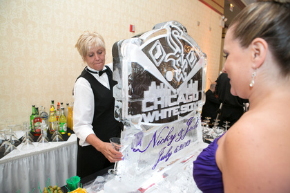 Nadeaus Ice Sculptures - Custom Double Martini Luge The Favors - Tinley Park Wedding In July in Tinley Park, IL, USA