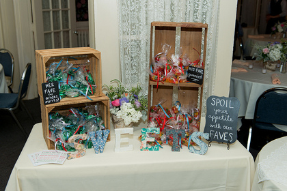 Andes mints and gummy bears packaged by the bride and bridesmaids The Favors - Andy and Jake's Wedding in avon, ny