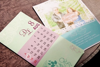 Seafoam green/lilac/calendar design placed in a white envelope, red candle wax sealed (engraved heart with laurels on both side) by PaperWorks The Invitations - Lovely and Davijon's Wedding in Cagayan de Oro City, Philippines