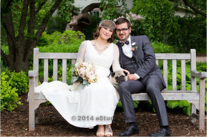 We had to take a picture with out three legged pug Bacon! The Newlyweds - Jennifer and Ian's Wedding in Lombard, IL, USA