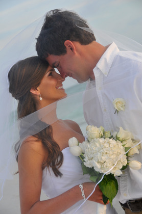 Romantic Couple on Clearwater Beach, FL Florida Gulf Beach Weddings www.gulfbeachweddings.com Hairstyles - Brandon and Emily's Wedding in St Pete Beach, FL, USA
