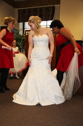 I purchased my dress from David's Bridal in Charleston, WV.  The alterations were done by Seams Easy in Daniels, WV.  The veil was purchased at Jean Ann's Bridal in Beckley, WV. The Wedding Dress - Tabitha and Thomas's Wedding in Charleston, WV, USA