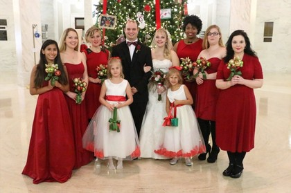 The bridesmaids were able to choose their own dress within the same color. Wedding Party Attire - Tabitha and Thomas's Wedding in Charleston, WV, USA