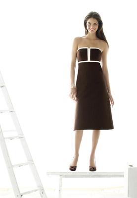 Tea-length strapless Duchess dress w/ geometric trim at bodice  The Dessy Group: http://www.dessy.com/dresses/bridesmaid/d410/  - Wedding Party Attire - The Dessy Group