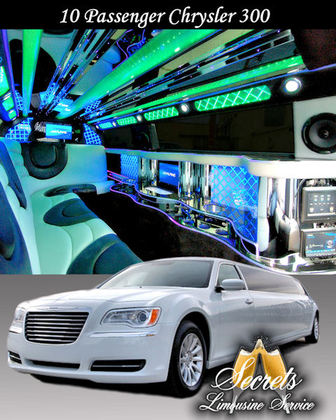 WHITE 10 PASSENGER CHRYSLER 300 STRETCH WITH 2-LCD TVS, PREMIUM DVD/AM/FM/CD WITH SURROUND SOUND FIVER OPTIC,