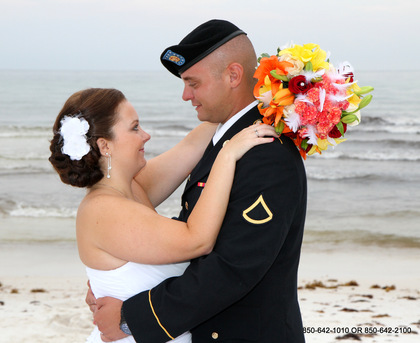 Bride and Groom at wedding day on the beach - Ceremonies - Destin Beach Brides