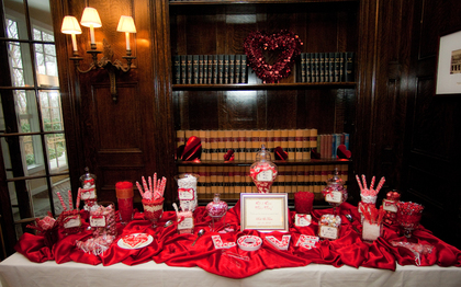 Red Candy Buffet in Valentines Day theme - Favors - All That Events DJ Up Lighting Photo Booth Candy Buffet