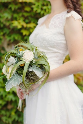 Bridal Bouquet - Air Plants, Succulents, Dusty Miller, Craspedia and Roses - Flowers and Decor - Land Escapes Design Inc.