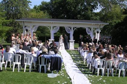 Outside Wedding Ceremony by Pergola - Ceremonies - St.Volodymyr Centre, SVCC Banquet Hall