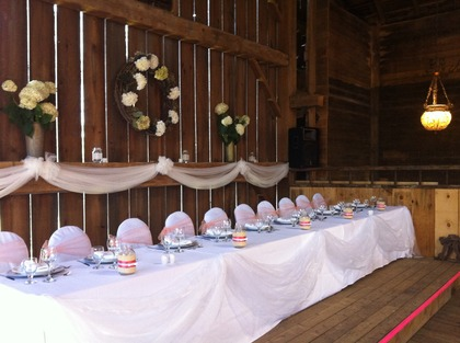 Barn Wedding Head Table Swag and Coral Organza Sash Rentals - Flowers and Decor - Classic Weddings And Events