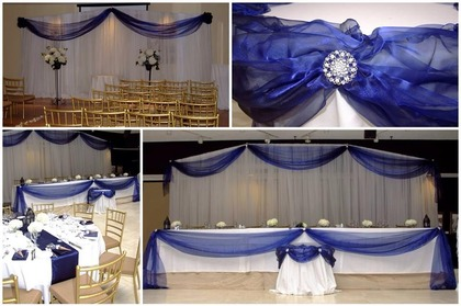 Full Wedding Set up with White & Navy Backdrop, Head Table and Cake Table with Diamond Accents - Flowers and Decor - Classic Weddings And Events