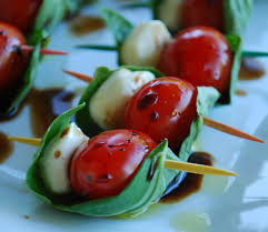 Tomato, Mozzarella & Basil Skewers - Newlyweds - Creative Catering of Virginia