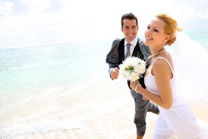 Running on Sand Key Beach - Clearwater Beach, FL Destination Wedding www.gulfbeachweddings.com - Newlyweds - Florida Gulf Beach Weddings