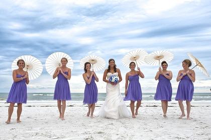 Bridal Party on Sunset Beach - Treasure Island, FL Destination Wedding on Florida's Treasure Island www.gulfbeachweddings.com - Wedding Party Attire - Florida Gulf Beach Weddings