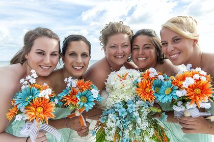 Bridal Party w/ Bridal Bouquets on Lido Beach - Sarasota, FL www.gulfbeachweddings.com - Wedding Party Attire - Florida Gulf Beach Weddings