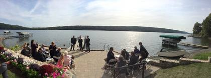 Panoramic view of lakeside ceremony setting. - Ceremonies - Lady of the Lakes Suites on Keuka Lake