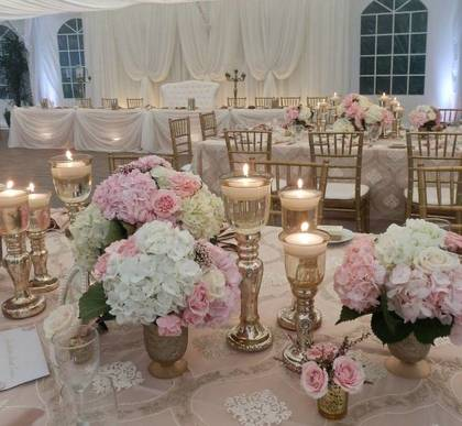 Gold Candlestick Trio Centerpieces for Rent! - Flowers and Decor - Annie Lane Events & Decor