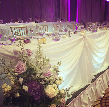 Beautiful Traditional Sheer Head Table Decor - Flowers and Decor - Annie Lane Events & Decor