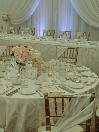 Beautiful Lace & Grace Backdrop with Crystals, Chiffon Ribbon Skirting Head Table Decor. Cross Ribbon Ties for Chiavari Chairs.  - Flowers and Decor - Annie Lane Events & Decor