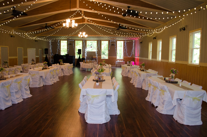 Elegant ballroom with over 6,000 wedding lights.  We also offer chair covers and sashes. -  - gardens of sunshine hollow