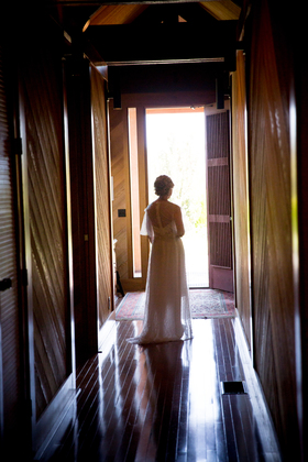 Bride awaiting limo ride. The Wedding Dress - Marcie and Duane's Wedding in Sonoma, CA, USA