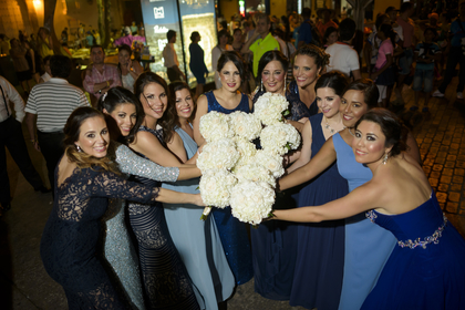 Bridesmaids in Blue tones with different Dresses  Wedding Party Attire - Carolina and Rafael Wedding in Bolivar, Colombia