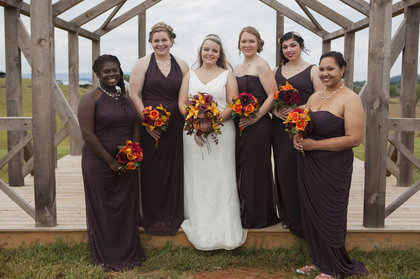 Bridesmaids in their different styled dresses. Wedding Party Attire - Harrisonburg Wedding In September in Harrisonburg, VA, USA