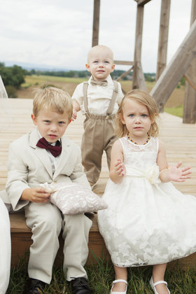 The two ring bearers and the flowergirl Wedding Party Attire - Harrisonburg Wedding In September in Harrisonburg, VA, USA