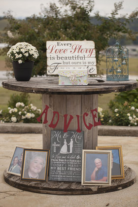 Advice table with pictures of loved ones who had passed on under. Flowers and Decor - Harrisonburg Wedding In September in Harrisonburg, VA, USA