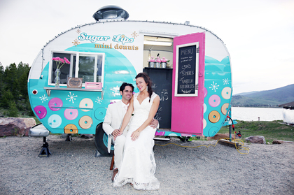 In front of the Sugar Lips Mini Donut Trailer - they made signature 'fancy-schmancy' S'more and Sprinkle mini donuts for dessert.  Cakes and Desserts - Kelly  and Ray 's Wedding in San Francisco, CA, USA