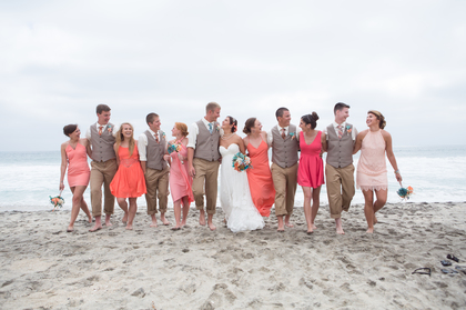 Love the different ties and various shades of coral dresses for the beach wedding. Wedding Party Attire - Ali and Ethan's Wedding in Carlsbad, CA, USA