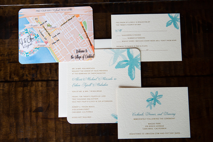 Love the water color map of Carlsbad, CA The Invitations - Ali and Ethan's Wedding in Carlsbad, CA, USA