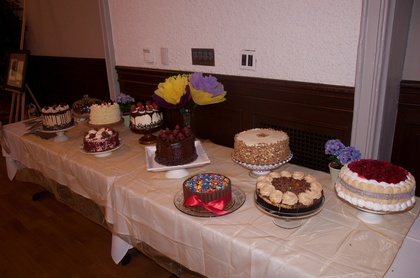 10 cakes for 10 tables by Safeway.  All different to encourage everyone to mingle during dessert.  It was a huge success! Cakes and Desserts - Zack and Vincent's Wedding in Oakland, CA, USA