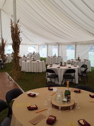 Inside the reception tent. Flowers and Decor - Bethany and Connor's Wedding