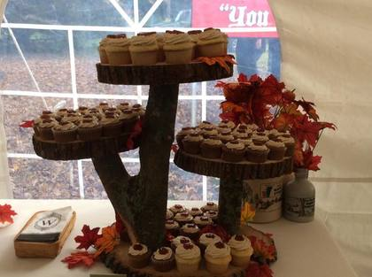 Homemade cupcake stand and maple flavored cupcakes! Cakes and Desserts - Bethany and Connor's Wedding